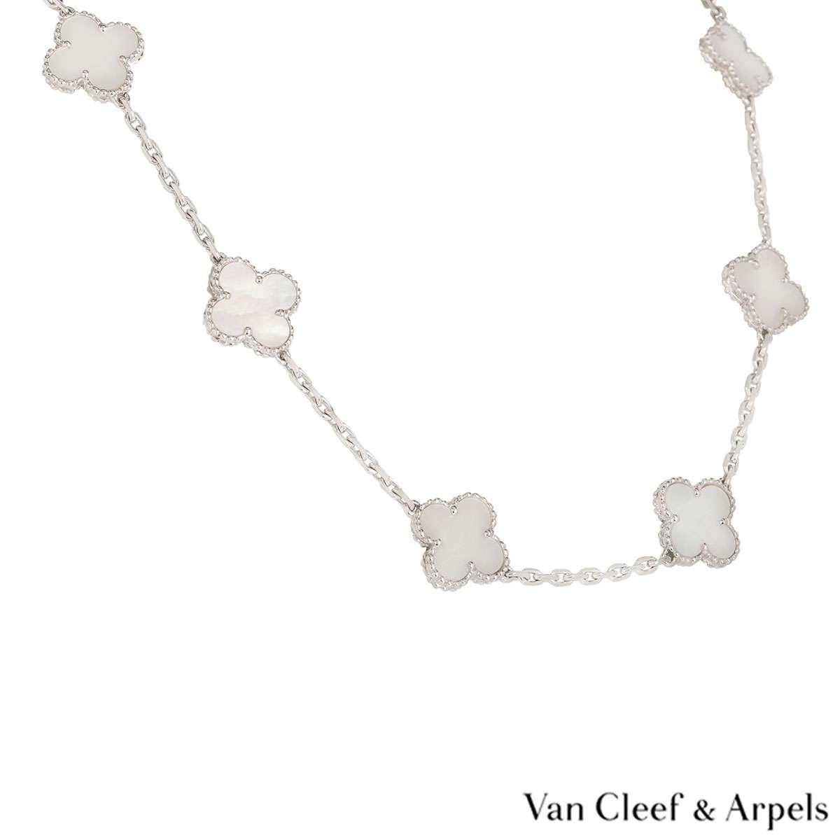 Van Cleef & Arpels White Gold Vintage Alhambra Necklace VCARF48500